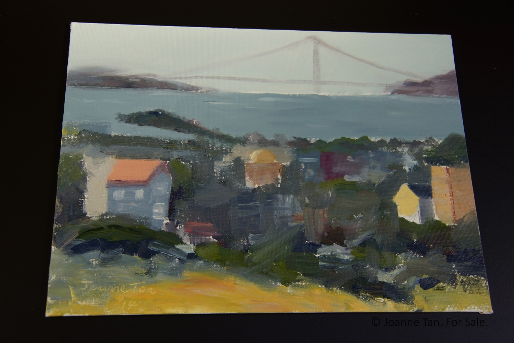 oil painting - Golden Gate Bridge in Fog, from Russian Hills - Joanne Tan (1024x683)