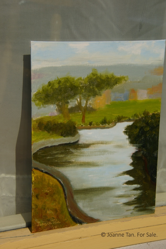 oil painting - water, bank, and 2 trees, Palace of Fine Art, SF - Joanne Tan (683x1024)